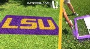 LSU college logo stencil - Lawn Stencil Kit.