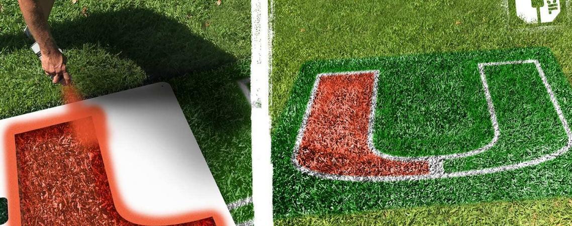 """University of Miami """"U"""" lawn stencil kit"""